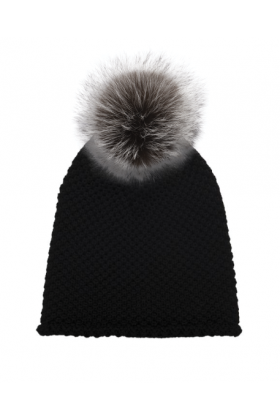 Black Waffle with Silver Fox Hat