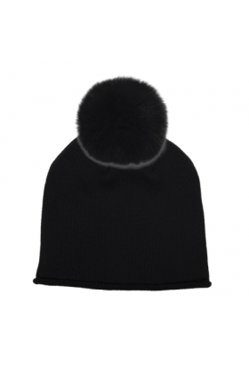 Black Glossy with Black Fox Hat