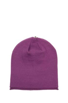 Lindo F amethyst glossy hat toque beanie interchangeable pom pom