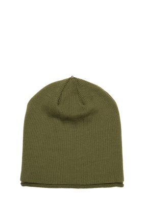 Lindo F Olive Glossy Merino Wool Toque Beanie Hat