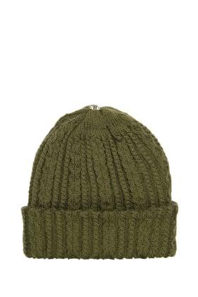 Lindo F Olive Sasha Hat Toque Beanie Interchangeable Fur Pom