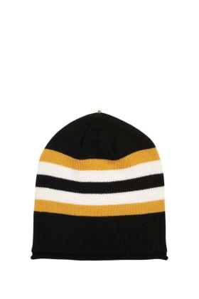 Lindo F Black and Gold Merino Wool Multi Kimberly Hat Toque Beanie