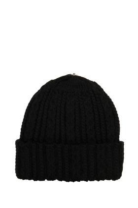 Lindo F Black Sasha Hat Toque Beanie Interchangeable Fur Pom Scarf