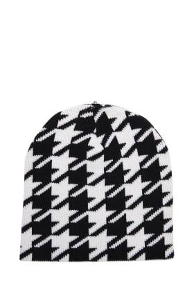 Lindo F Merino Wool Caylee Black and White Hat Toque Beanie