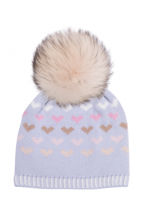 Dove Hailey Hat with Pearl Raccoon Pom