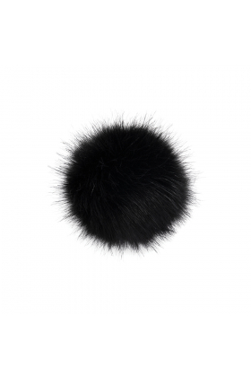 Faux Fox Fur Pom Black