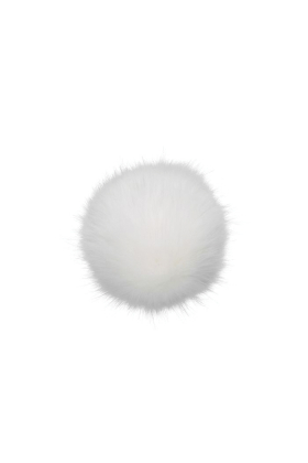 Faux Fox Fur Pom Pure White