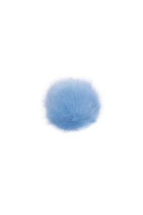 Faux Fox Fur Pom Sky Blue