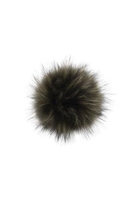 Faux Fur Raccoon Pom Hunter Green