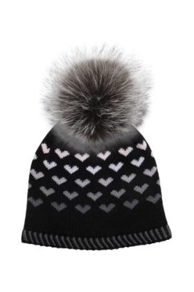 Black Hailey Hat With Silver Fox Pom
