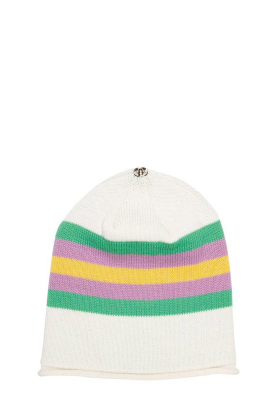 Lindo F Ivory Kelly Green Merino Wool Kimberly Toque Hat Beanie