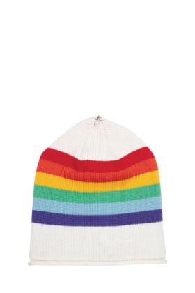 Lindo F Ivory Rainbow Merino Wool Kimberly Hat Beanie Toque