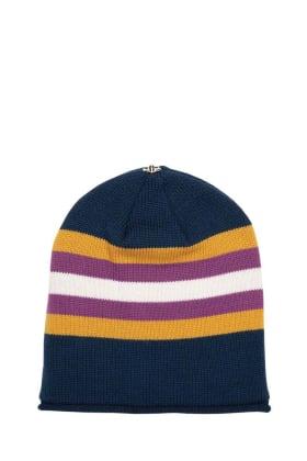 Lindo F Navy and Gold Kimberly Merino Wool Toque Hat Beanie