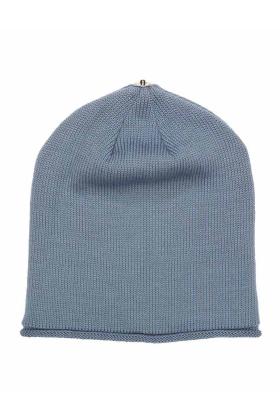 Lindo F Nude Blue Glossy Merino Wool Toque Hat Beanie