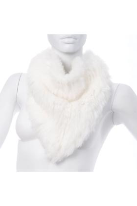 Rabbit Fur Bandana Neck Scarf Ivory