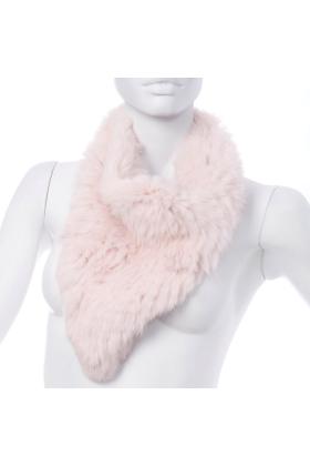 Rabbit Fur Bandana Neck Scarf Petal Pink