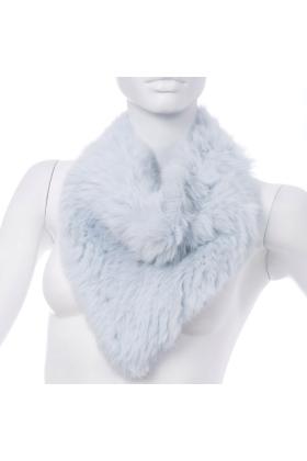 Rabbit Fur Bandana Neck Scarf Silver Blue