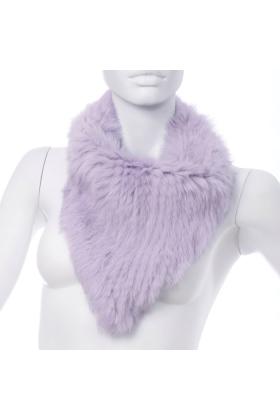 Rabbit Fur Bandana Neck Scarf Velvet Violet