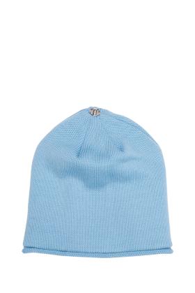 Lindo F Sky Blue Glossy Merino Wool Toque Hat Beanie