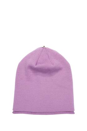 Lindo F Violet Dream Glossy Hat Toque Beanie Interchangeable Fur Pom Pom