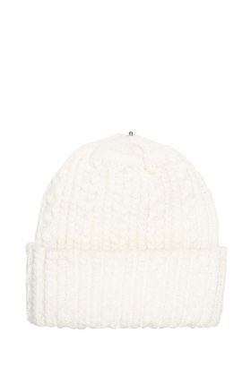 Lindo F Ivory Sasha Hat Toque Beanie Interchangeable Fur Pom Scarf