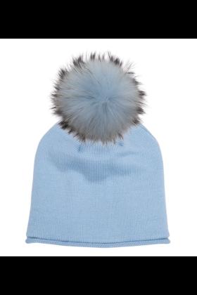 Blue Dust Raccoon Pom Hat
