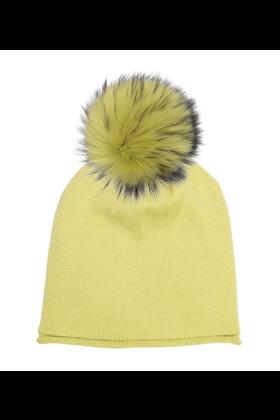 Chartreuse Raccoon Pom Hat