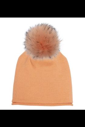 Creamsicle Raccoon Pom Hat