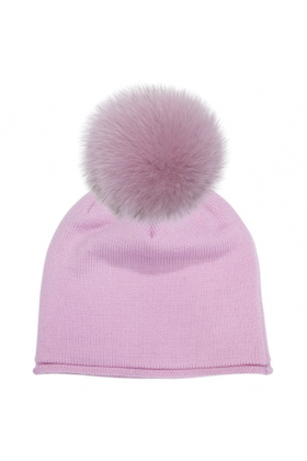 Pink Mauve Fox Pom Hat