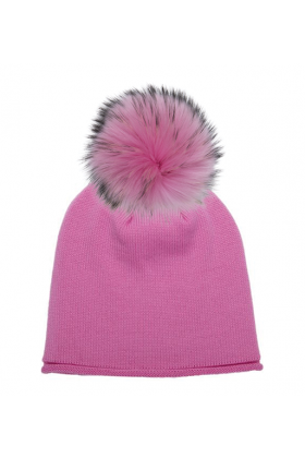 Poker Pink Raccoon Pom Hat