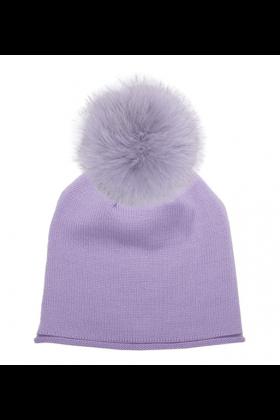 Velvet Violet Raccoon Pom Hat