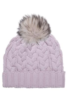 Mauve Linen Cable with Mauve Linen Raccoon Hat