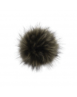Faux Fur Raccoon Pom Hunter Green