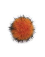 Faux Fur Raccoon Pom Puffin Orange