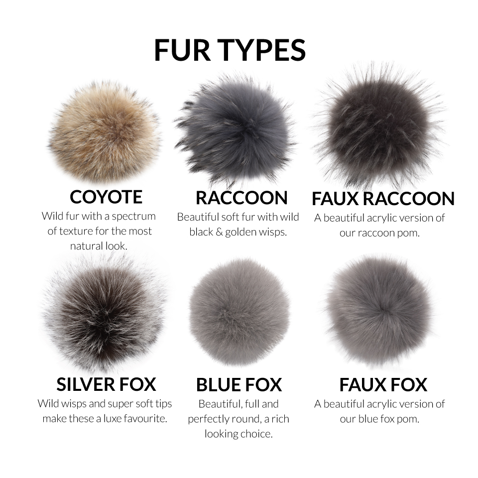 6 Different Fur types that include coyote, raccoon, and fox