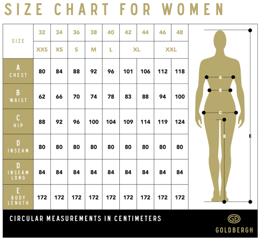 Goldbergh Size Guide for Women